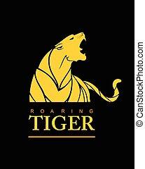 rugindo, tiger, amarela