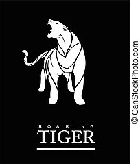 rugindo, tiger, corpo cheio
