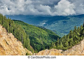 Landscape with Ruginoasa pit in Apuseni national reserve, Romania