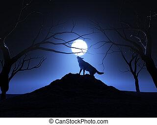 rugir, 3d, lobo, render, luna