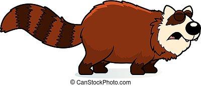 rugir, caricatura, panda rojo