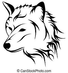 rugir, vector, lobo, ilustración