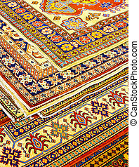 Rugs angle - Bunch of colorful Persian carpets and rugs