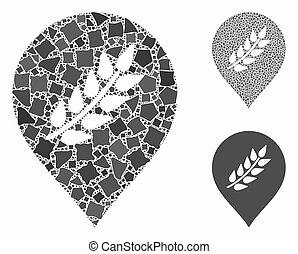 rugueux, plantation, composition, éléments, icône, marque