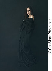 ruha, leány, köd, fekete