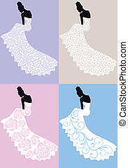 ruha, nő, vektor, esküvő