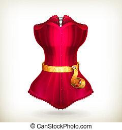 ruha, vektor, szalag, piros, mérés