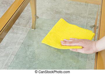 ruhaanyag, asztal, takarítás, sárga, pohár