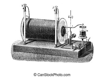 Original wood engraving from L'?lectricit? by J. Baille, Paris - Hachette 1868. Electrical transformer used to produce high-voltage pulses from a low-voltage direct current, patented in 1851 by Heinrich Ruhmkorff, German inventor.