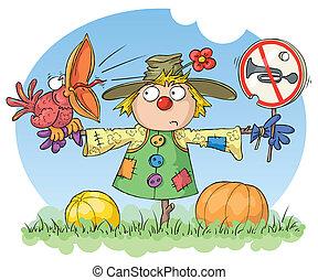 ruido, prohibido, scarecrow:
