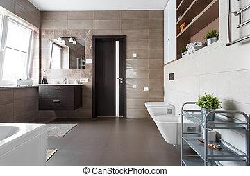 Badkamer, stijl, scandinavische. Badkamer, ruimte, stijl ...