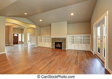 Bruine , plafond, kamer, levend, balken, gewelfd. Levend ...