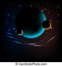 ruimte, achtergrond, met, 3, planeet, en, ruimte, voor, tekst