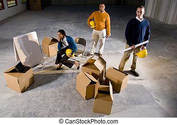 ruimte, businesspeople, kantoor, het bereiden, multi-etnisch...