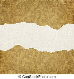 ruimte, edges., gescheurd, text., ornated, papier