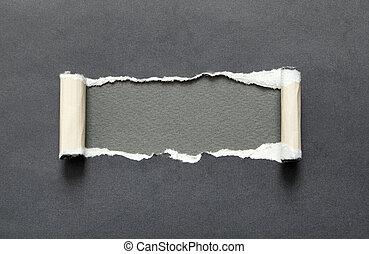 ruimte, gescheurd, grijze , papier, boodschap, jouw