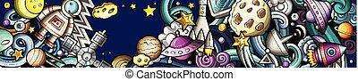 ruimte, getrokken, spotprent, hand, illustrations., banner., gedetailleerd, doodle