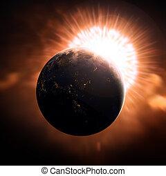 ruimte, gezien, buitenst, aarde