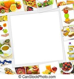 ruimte, gezonde , verzameling, foto's, voedingsmiddelen, kopie