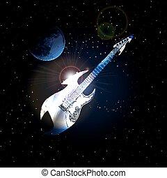 ruimte, gitaar, achtergrond, maan