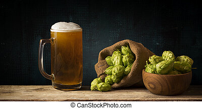 ruimte, glas, bier, hout, achtergrond, kopie