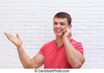 ruimte, hand, cel telefoongesprek, kopie, gebaar, man