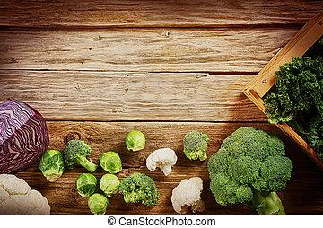 ruimte, houten, groentes, fris, tafel, kopie