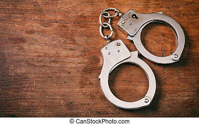 ruimte, houten, handcuffs, vrijstaand, achtergrond., kopie