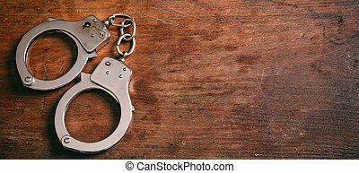 ruimte, houten, vrijstaand, handcuffs, achtergrond., kopie, spandoek