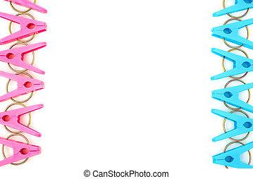 ruimte, kavels, achtergrond, witte , kopie, clothespins