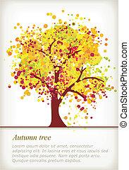 ruimte, kleurrijke, herfst, boompje