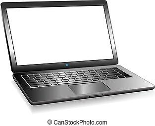 ruimte, laptop pc computer, boodschap, jouw, 3d
