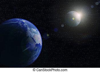 ruimte, maan, planeet, sun., zonopkomst, aarde