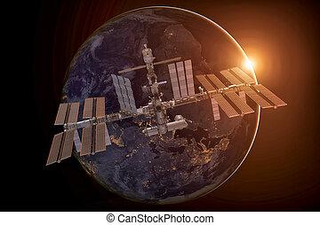 ruimte, op, planeet, station, internationaal, earth.