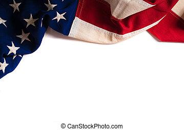 ruimte, ouderwetse , amerikaanse vlag, witte , kopie
