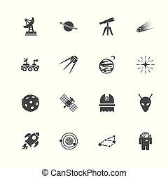 ruimte, -, plat, vector, iconen