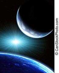 ruimte, scène, met, twee, planeet