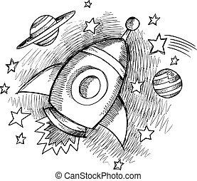 ruimte, schattig, schets, buitenst, raket