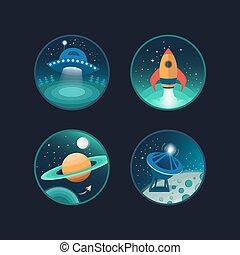 ruimte, set, iconen