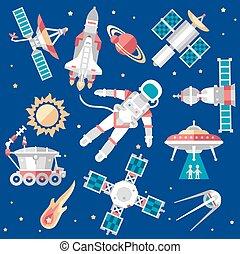ruimte, set, illustratie, vector