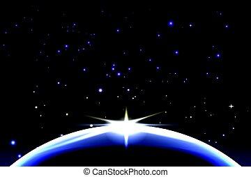 ruimte, space., planeet, vector, achtergrond, aarde, zonopkomst