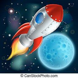 ruimte, spotprent, scheeps , raket