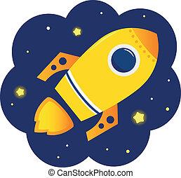ruimte, sterretjes, spotprent, stylized, raket