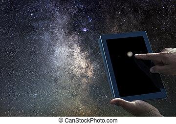 ruimte, tablet., concept., planeet, exploratie, jupiter, astronomie