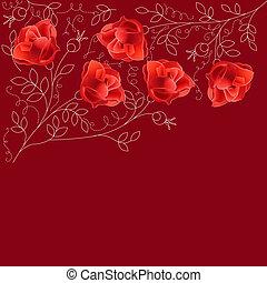 ruimte, tekst, donker, rozen, achtergrond, rood
