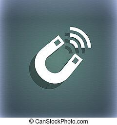 ruimte, text., symbool, blauwe-groen, abstract, magneet, achtergrond, schaduw, jouw, pictogram