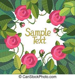ruimte vensterraam, rozen, tekst