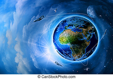 ruimte, vervoer, en, technologieën, in, de toekomst,...