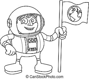 ruimte, vlag, ruimtevaarder, vasthouden, spotprent, man
