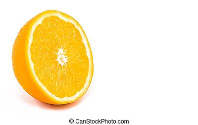 ruimte, vrijstaand, achtergrond, helft, sinaasappel, witte , kopie
